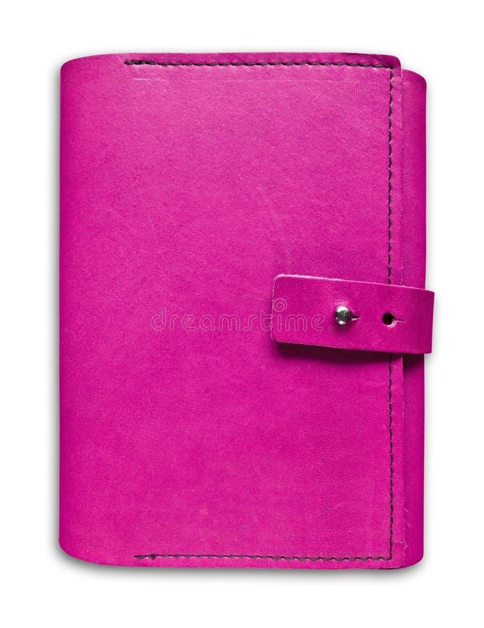 Caderno de couro cor-de-rosa do caso isolado fotos de stock