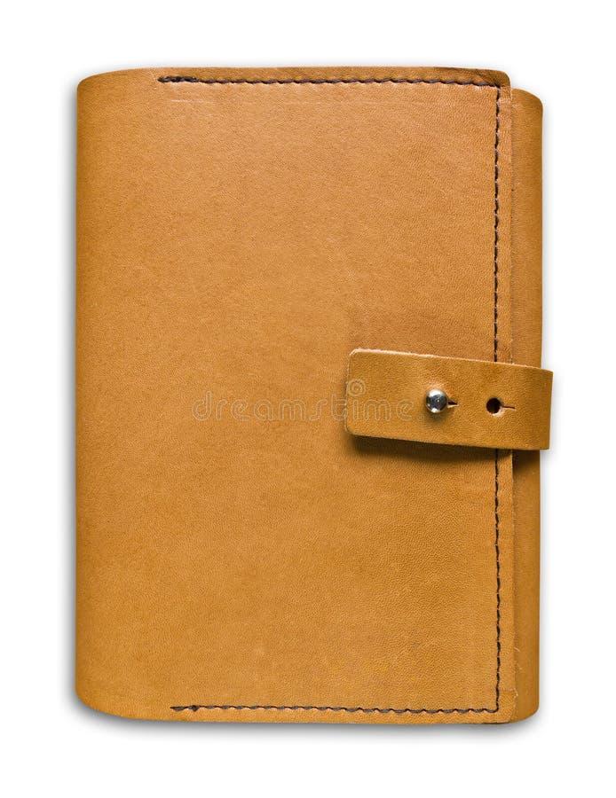 Caderno de couro do exemplo de Brown isolado fotografia de stock
