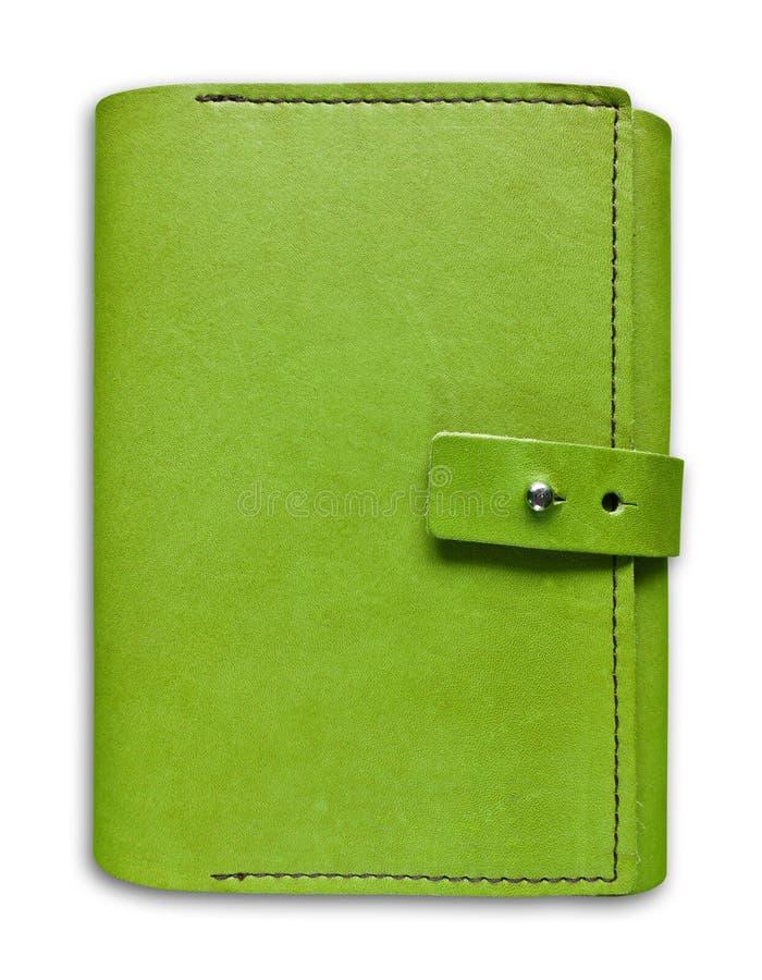 Caderno de couro verde do caso isolado fotos de stock