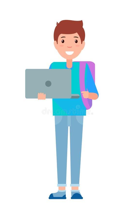 Caderno de Teenage Schoolboy Freshman do estudante masculino ilustração do vetor