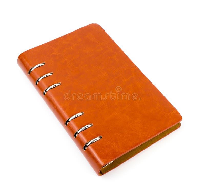 Caderno do diário do couro de Brown isolado imagem de stock