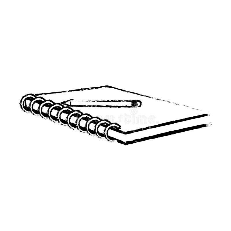 Caderno do Grunge e fundo de madeira das ferramentas da escola do lápis ilustração do vetor
