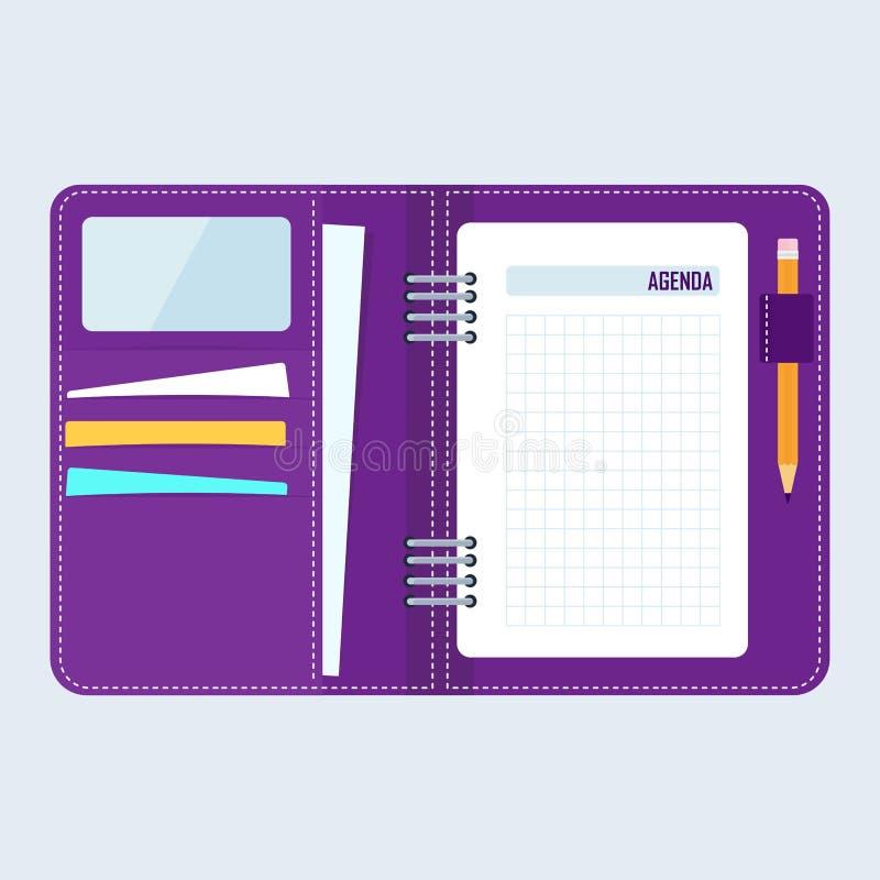 Caderno do negócio da agenda ilustração royalty free