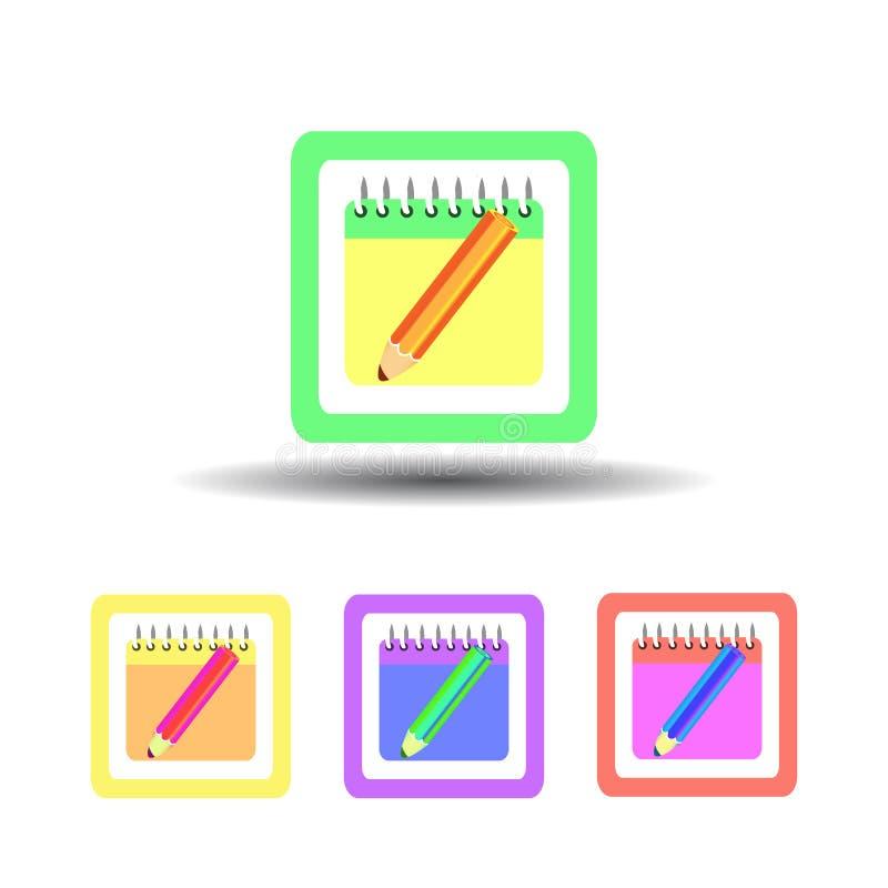 Caderno dos botões do ícone quatro em um fundo branco ilustração do vetor