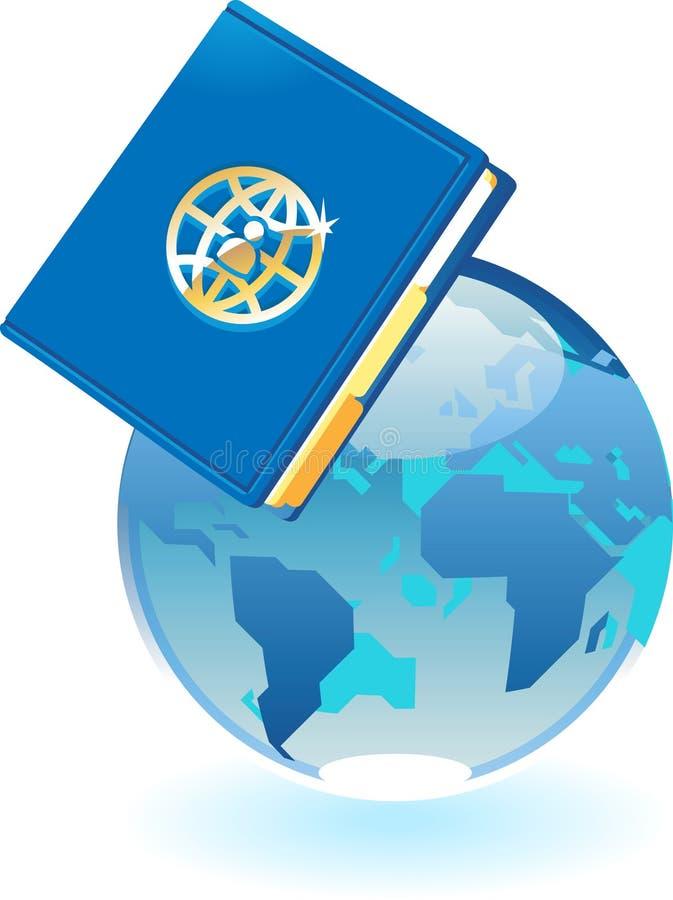 Caderno e conceito azul do globo ilustração do vetor