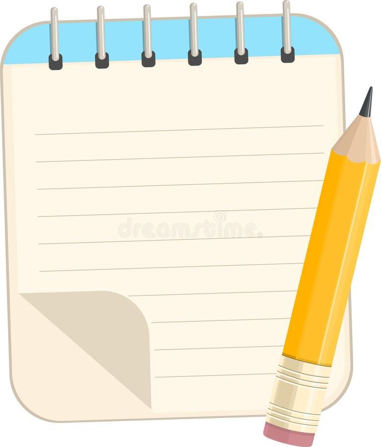 Caderno e lápis ilustração stock