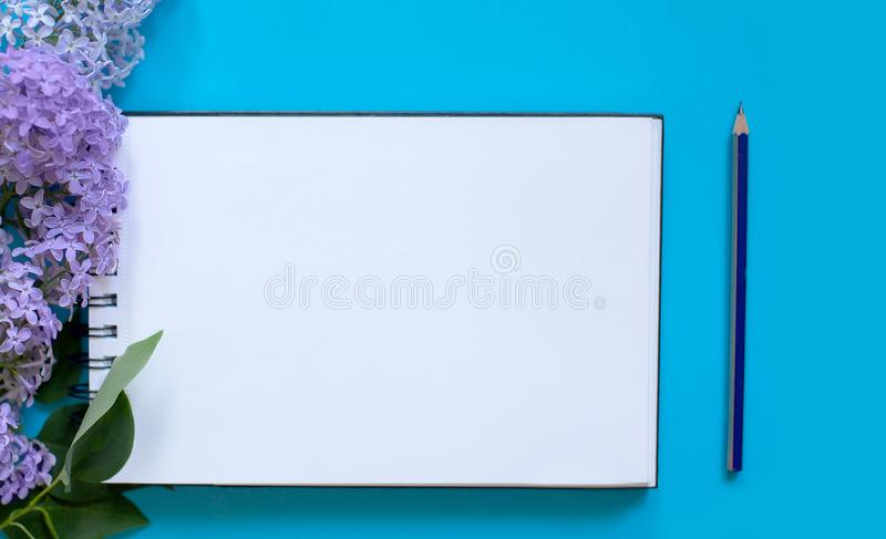Caderno e lil?s imagem de stock