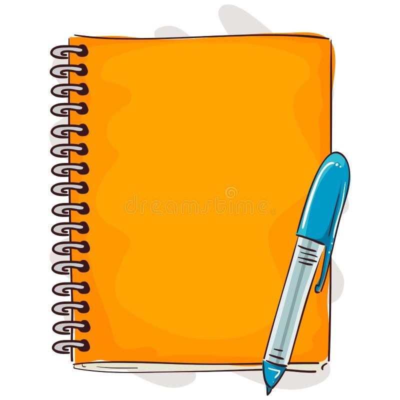 Caderno e Pen Cartoon Style ilustração stock