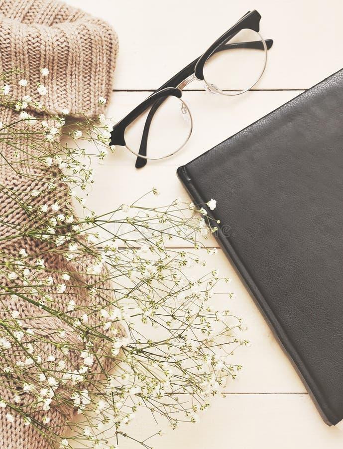 Caderno e vidros no fundo de madeira branco fotografia de stock royalty free