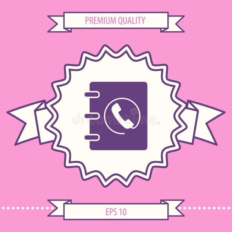 Caderno, endereço, ícone da lista telefônica com símbolo do monofone Elementos gráficos para seu projeto ilustração stock