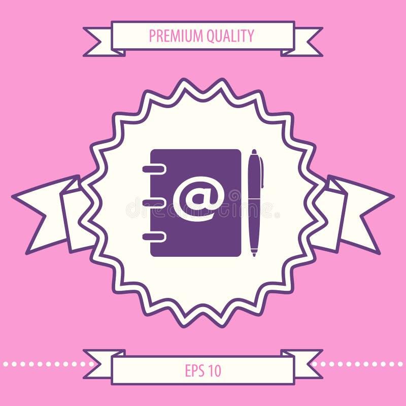 Caderno, endereço, lista telefônica com símbolo do email e ícone da pena Elementos gráficos para seu projeto ilustração stock