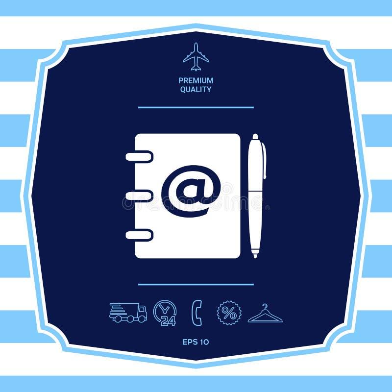 Caderno, endere?o, lista telef?nica com s?mbolo do email e ?cone da pena Elementos gr?ficos para seu projeto ilustração royalty free