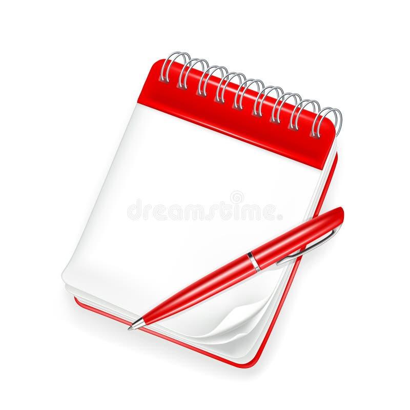 Caderno espiral com pena ilustração royalty free