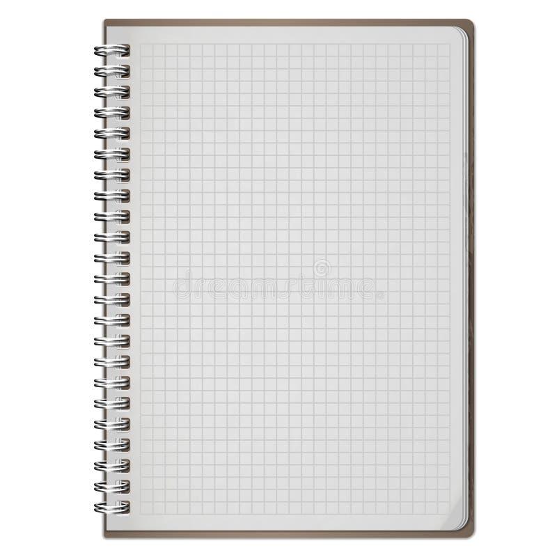 Caderno espiral realístico vazio do bloco de notas isolado no branco ilustração stock