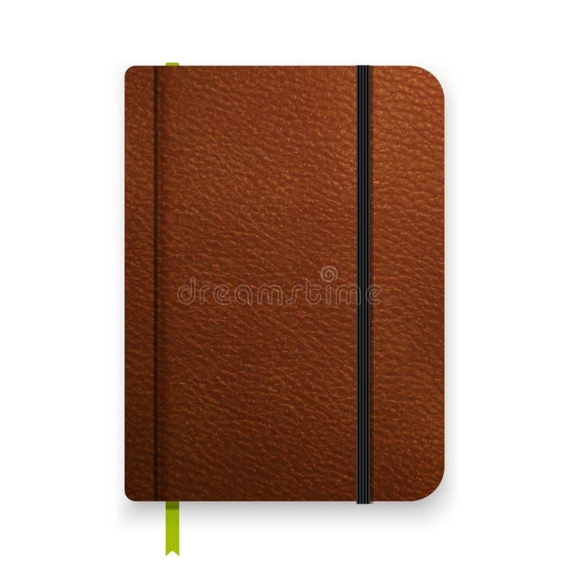 Caderno marrom de couro realístico com a faixa elástica preta Molde do diário da vista superior Modelo do bloco de notas do vetor ilustração stock