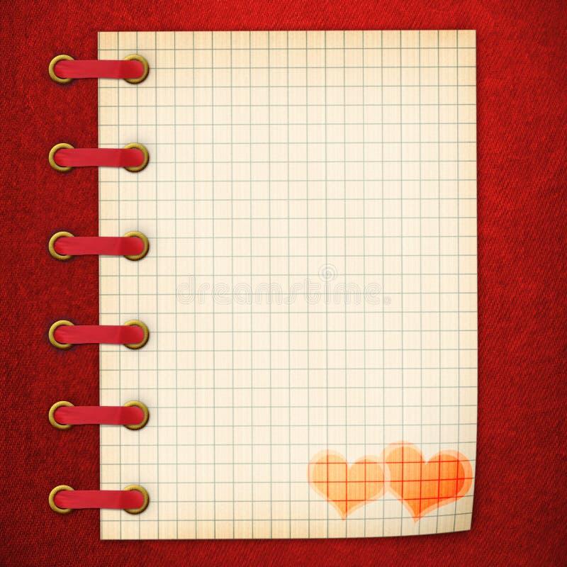 Caderno na tampa vermelha ilustração stock