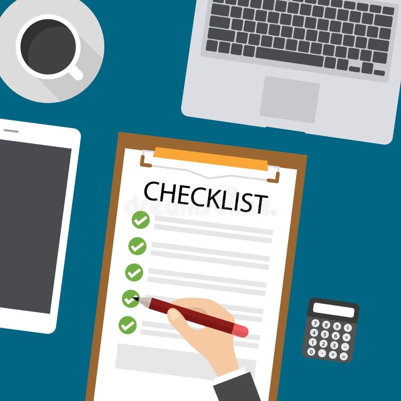 Caderno, PC digital da tabuleta, teclado e café com lista de verificação do texto da amostra, vetor ilustração stock