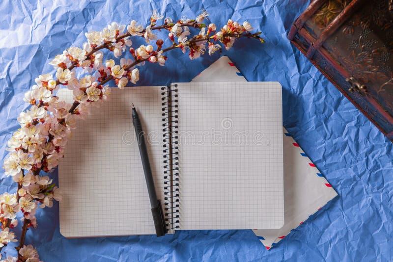 Caderno, pena e envelope abertos em um quadro das flores de cerejeira em um fundo brilhante Romance, conceito das cartas de amor imagem de stock