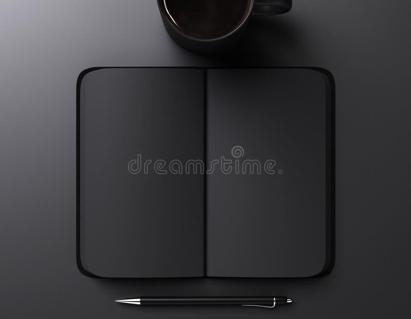 caderno, pena e xícara de café vazios pretos imagem de stock