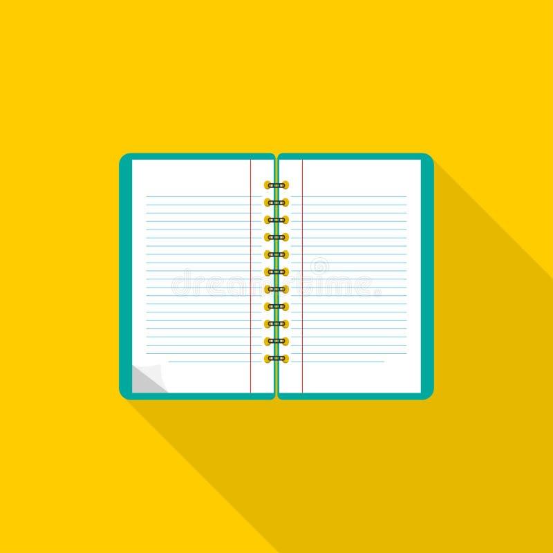 Caderno Projeto liso Caderno no fundo azul Abra o bloco de notas Engrena o ícone ilustração stock
