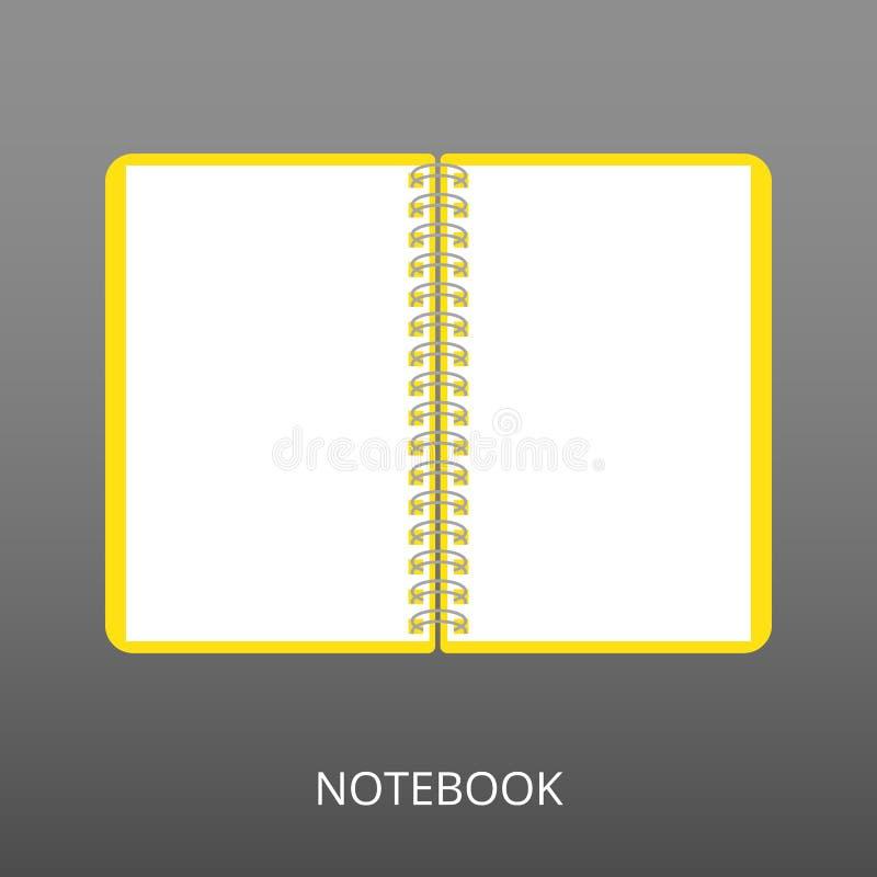 Caderno realístico aberto no fundo cinzento Ícone liso, ilustração do vetor de um bloco de notas espiral Para a escola, trabalho, ilustração do vetor