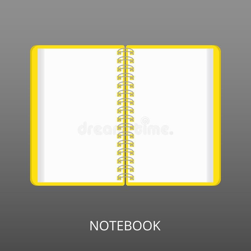 Caderno realístico aberto no fundo cinzento Ícone liso, ilustração do vetor de um bloco de notas espiral Para a escola, trabalho ilustração do vetor