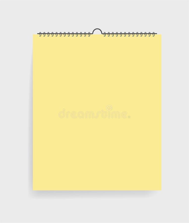 Caderno realístico no estilo do modelo Bloco de notas vazio com espiral Molde do bloco de desenho vazio no fundo cinzento Vetor e ilustração stock
