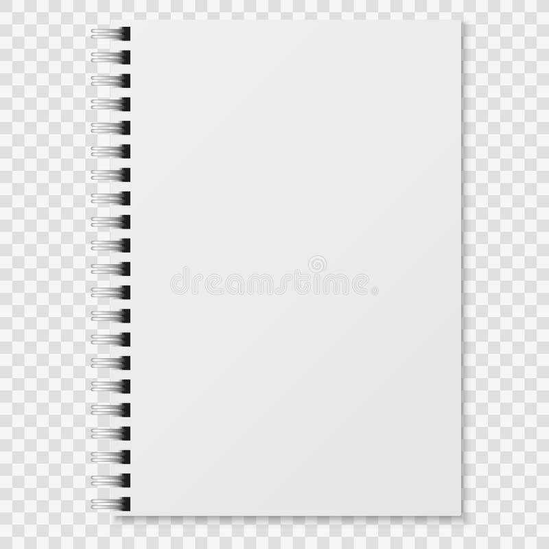 Caderno realístico A placa fechou o caderno branco da pasta espiral Modelo de papel do vetor do organizador ou do diário ilustração do vetor