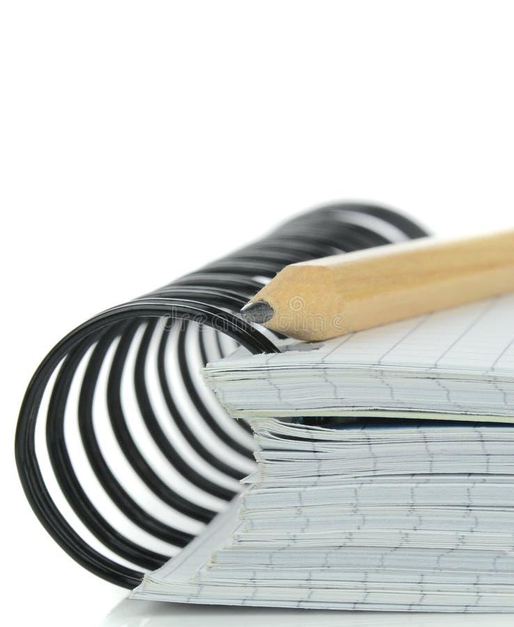 Caderno suportado espiral fotografia de stock