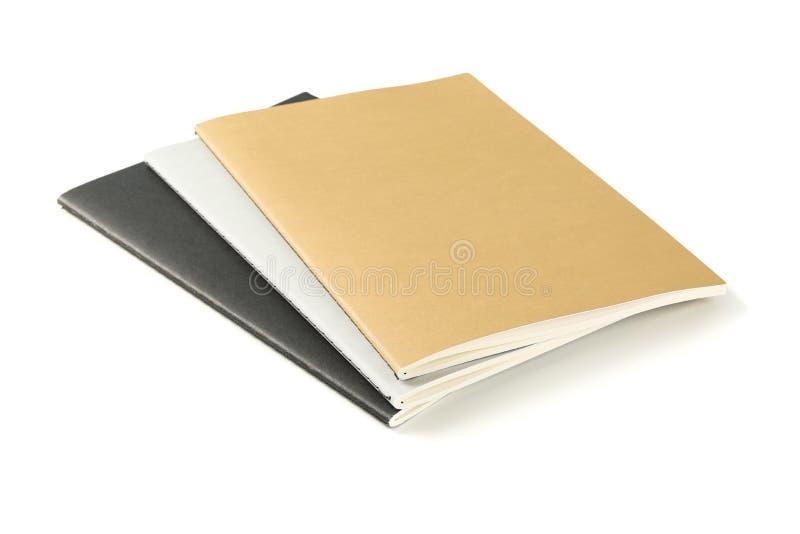 Cadernos com a estrutura de papel isolada fotografia de stock