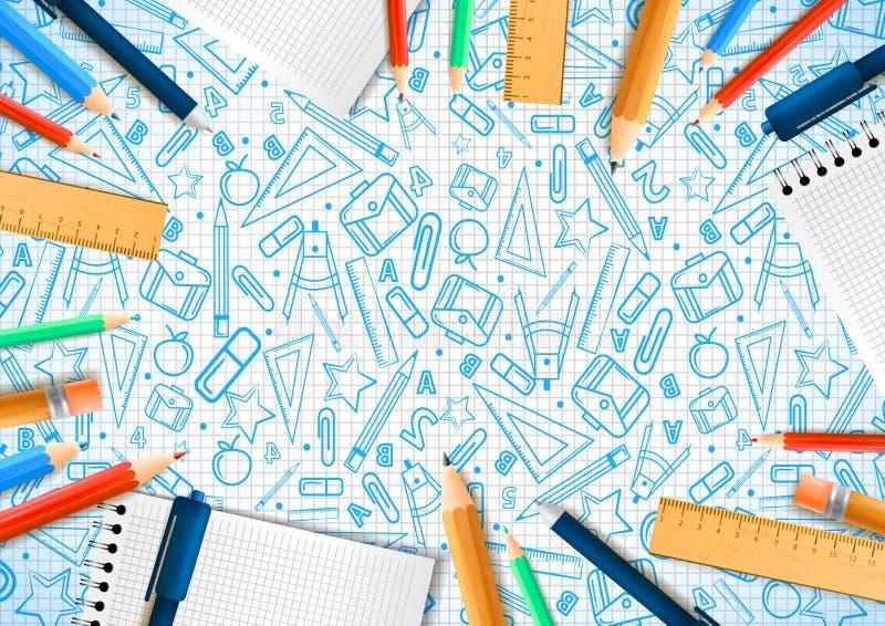 Cadernos com os lápis deferent no estilo realístico no fundo com ilustrações da garatuja da escola Projeto da ilustra??o do vetor ilustração stock