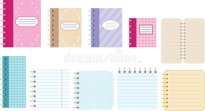 Cadernos de papel. Diários. ilustração royalty free