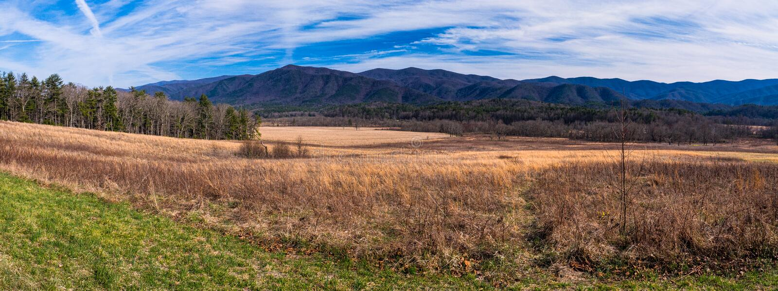 Cades Cove Mountains. A view of the Smoky Mountains seen from Cades Cove in Tennessee stock photos