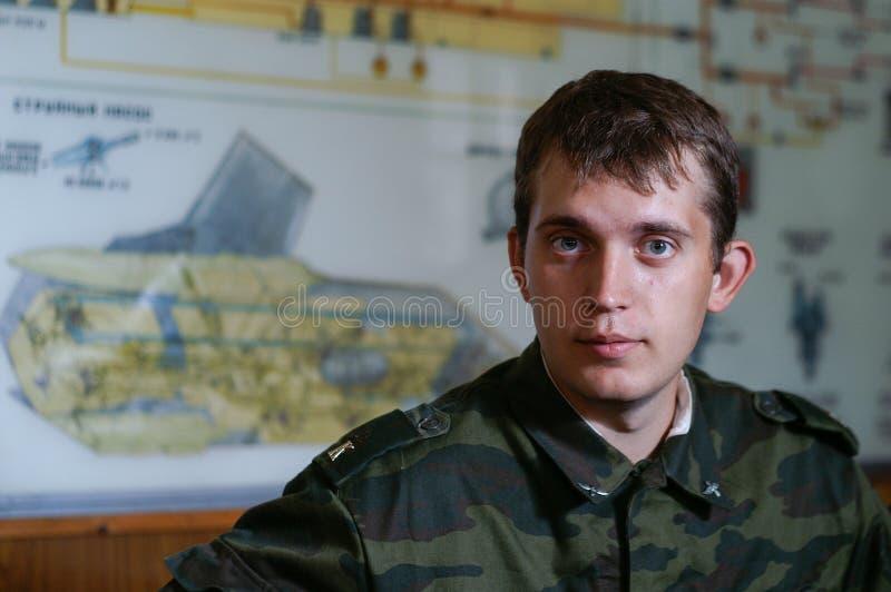 Cadet d'école militaire dans la salle de classe photos libres de droits