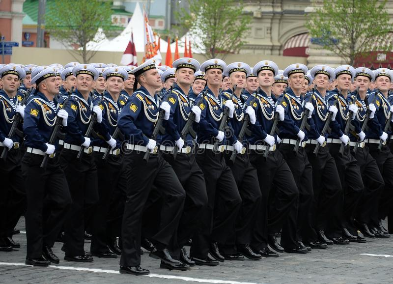 Cadets of the black sea higher naval school named after Admiral Nakhimov during the parade on red square in honor of Victory Day royalty free stock images