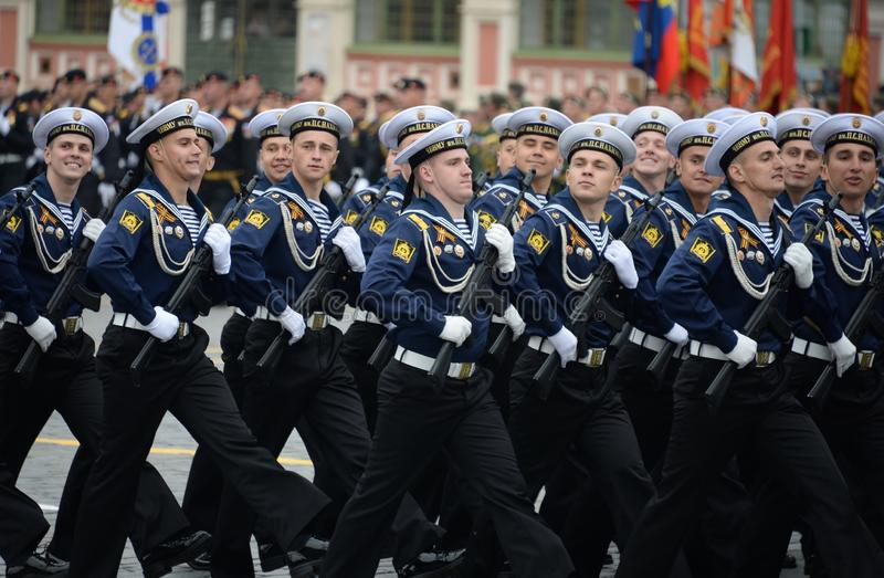 Cadets of the black sea higher naval school named after Admiral Nakhimov during the parade on red square in honor of Victory Day stock images