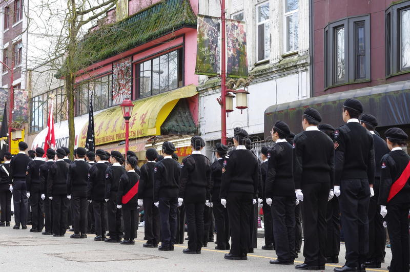 The Cadets during Chinese New Year parade in Chinatown Vancouver royalty free stock photography