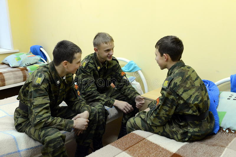 Cadets dans un dortoir photo stock