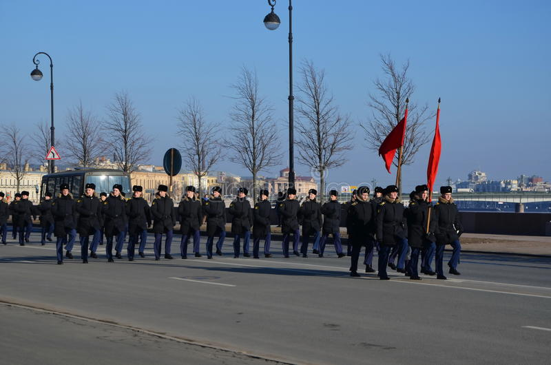 Cadets de l'école de marine de Nakhimov photos libres de droits