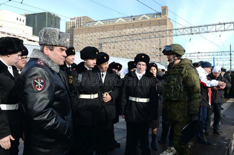 """Cadets en tournée du train militaire """"fracture syrienne """"à Moscou photographie stock"""