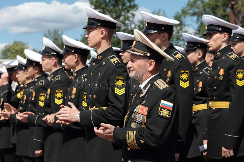 Cadets of Kronstadt naval cadet corps royalty free stock photo