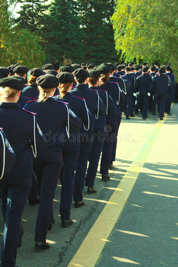 Cadets of legal institute, women police officers royalty free stock image