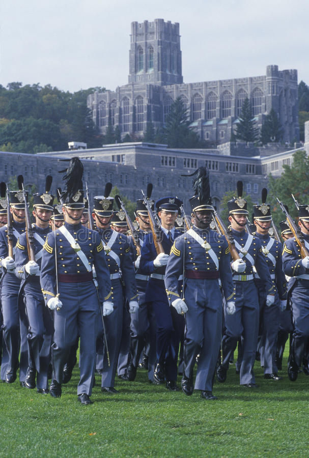 Cadets marchant dans la formation, académie militaire de West Point, West Point, New York photo libre de droits