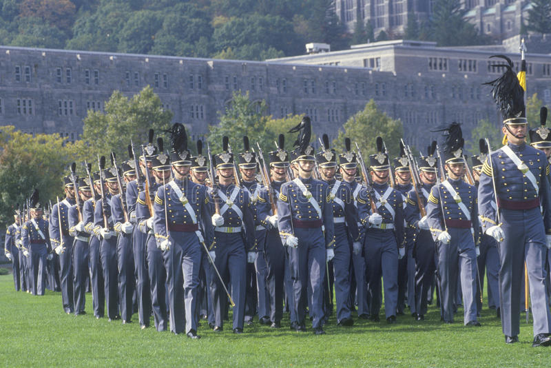 Cadets marchant dans la formation, académie militaire de West Point, West Point, New York images libres de droits