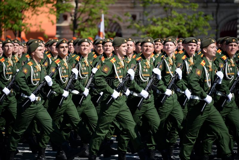 Cadets of the military Academy of logistics behalf of the army General A.V. khruleva on the parade dedicated to the Victory Day. MOSCOW, RUSSIA - MAY 09, 2018 royalty free stock images