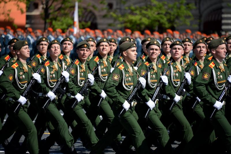 Cadets of the military Academy of logistics behalf of the army General A.V. khruleva on the parade dedicated to the Victory Day. MOSCOW, RUSSIA - MAY 09, 2018 stock photo