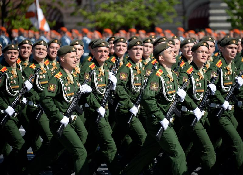 Cadets of the military Academy of logistics behalf of the army General A.V. khruleva on the parade dedicated to the Victory Day. MOSCOW, RUSSIA - MAY 09, 2018 stock photography