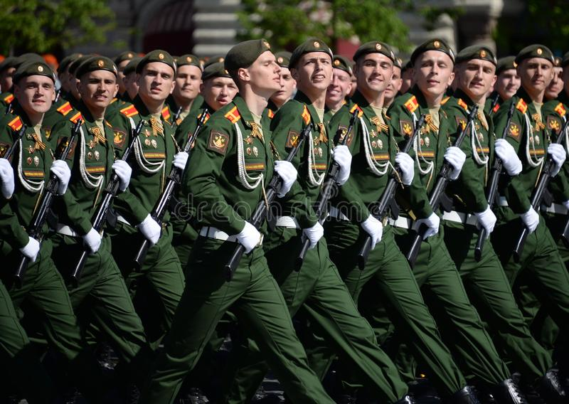 Cadets of the military Academy of logistics behalf of the army General A.V. khruleva on the parade dedicated to the Victory Day. MOSCOW, RUSSIA - MAY 09, 2018 stock photos