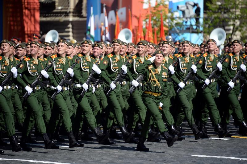 Cadets of the military Academy of logistics behalf of the army General A.V. khruleva on the parade dedicated to the Victory Day. MOSCOW, RUSSIA - MAY 09, 2018 stock image