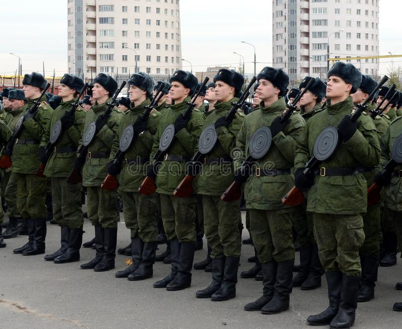 Cadets of the military school with manual infantry guns are preparing for the parade on November 7 on Red Square. stock photos
